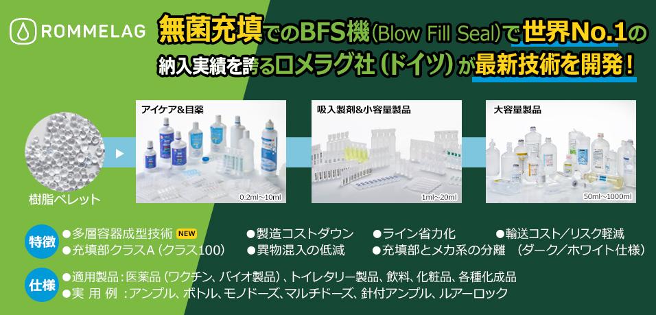 無菌充填でのBFS機(Blow Fill Seal)で世界No.1の納入実績を誇るロメラグ社(ドイツ)が最新技術を開発!容器成形充填シール機bottelpack